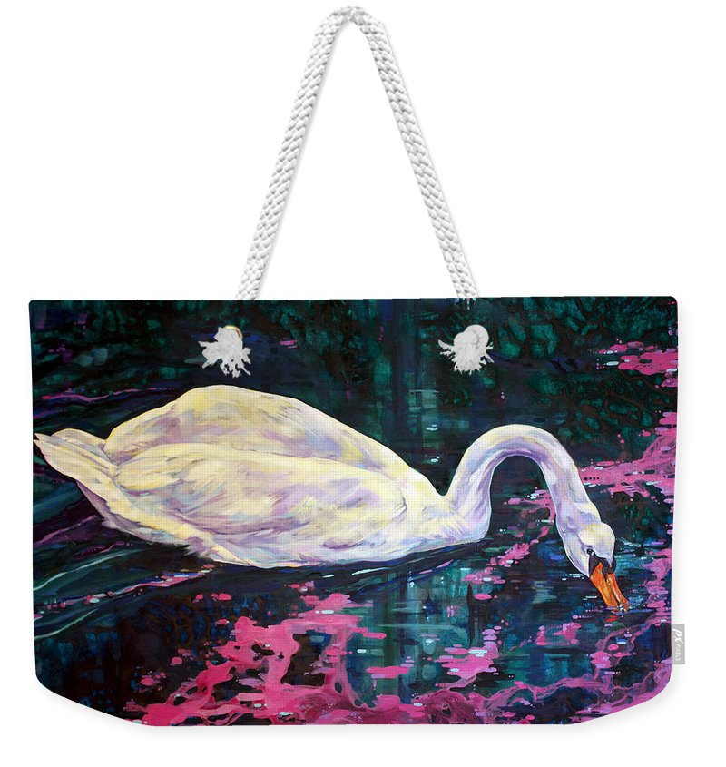 Bird Weekender Tote Bag featuring the painting Where Lilac Fall by Derrick Higgins