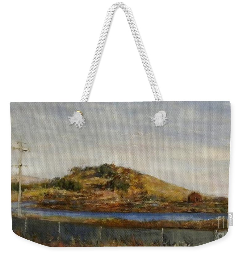 Landscape Weekender Tote Bag featuring the painting Where The Bay Meets The Hill by Grigor Malinov