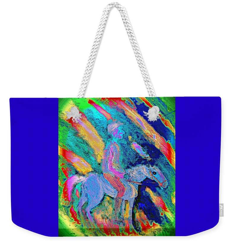 Rider Weekender Tote Bag featuring the painting Where To Go I Don't Know I Just Ride Out In The Snow by Hilde Widerberg