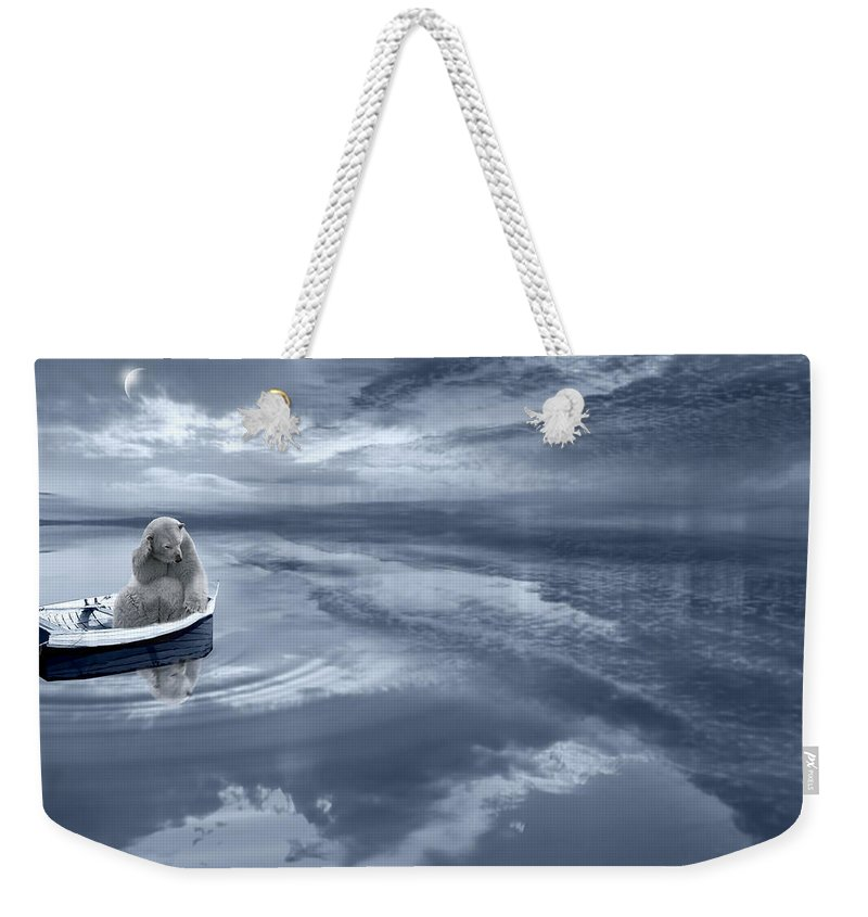 Polar Bear Weekender Tote Bag featuring the digital art Where's The Fish by Lourry Legarde