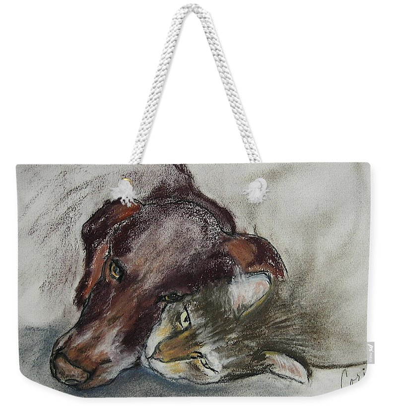 Dog Weekender Tote Bag featuring the drawing Whisker To Whisker by Cori Solomon