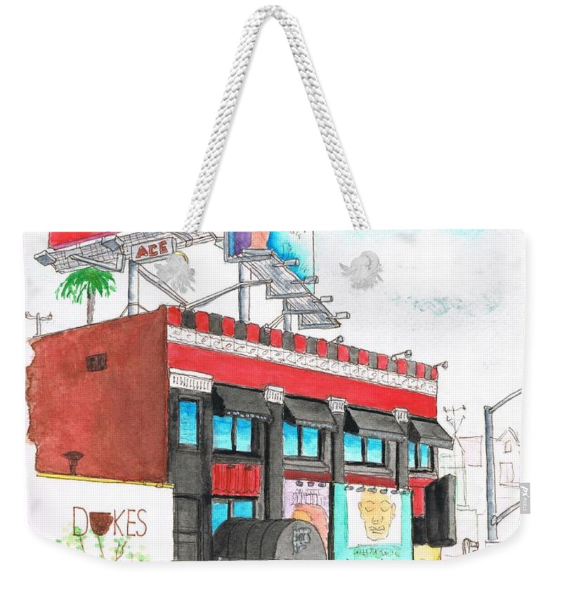 Whisky-a-go-go Weekender Tote Bag featuring the painting Whisky-a-go-go In West Hollywood - California by Carlos G Groppa