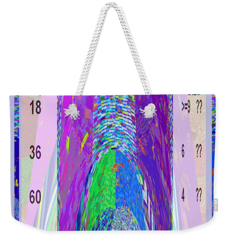 Cartoon Weekender Tote Bag featuring the mixed media Whisper Erection Meter Graphic Design Is A Strategic Art Meaning That It Is Art That Is Planned To S by Navin Joshi