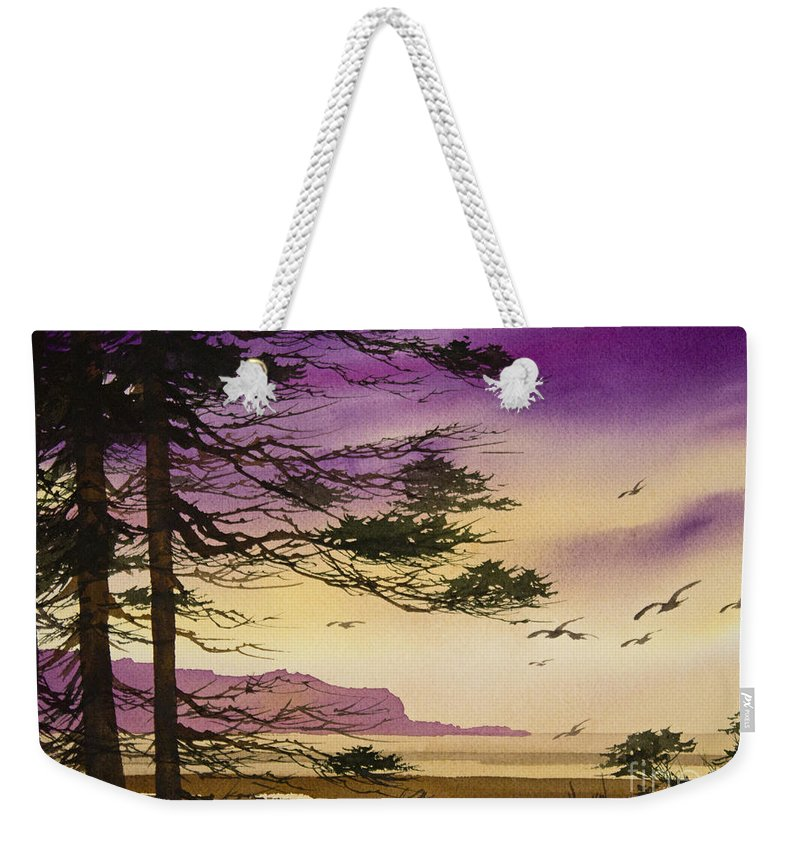 Landscape Weekender Tote Bag featuring the painting Whisper Of Dawn by James Williamson