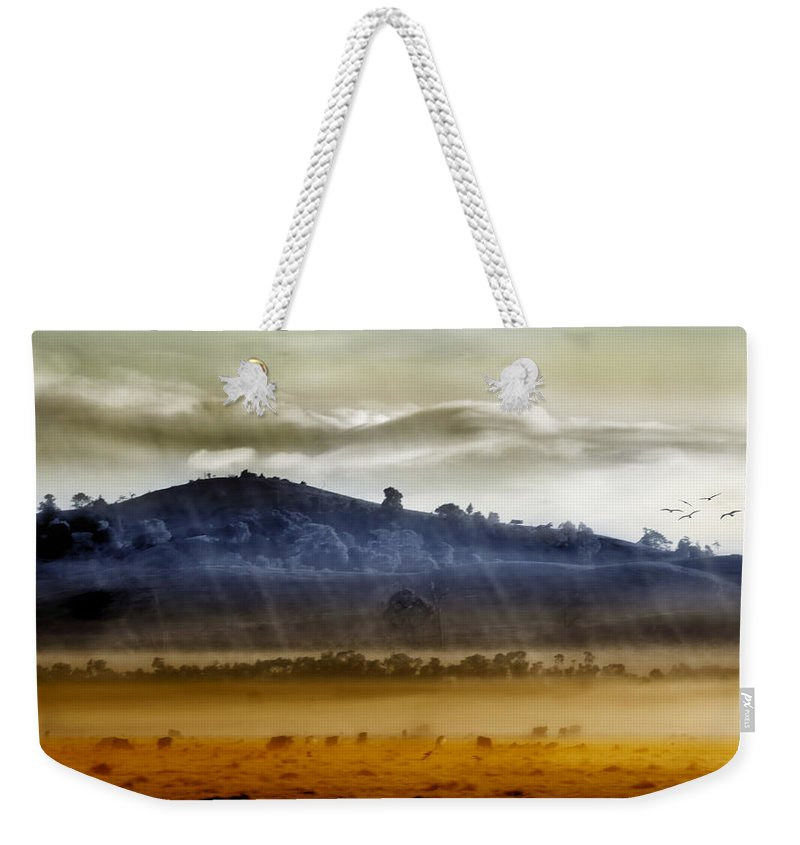 Landscapes Weekender Tote Bag featuring the photograph Whisps Of Velvet Rains... by Holly Kempe