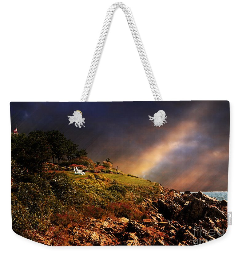 Summer Weekender Tote Bag featuring the photograph White Adirondacks by Lois Bryan
