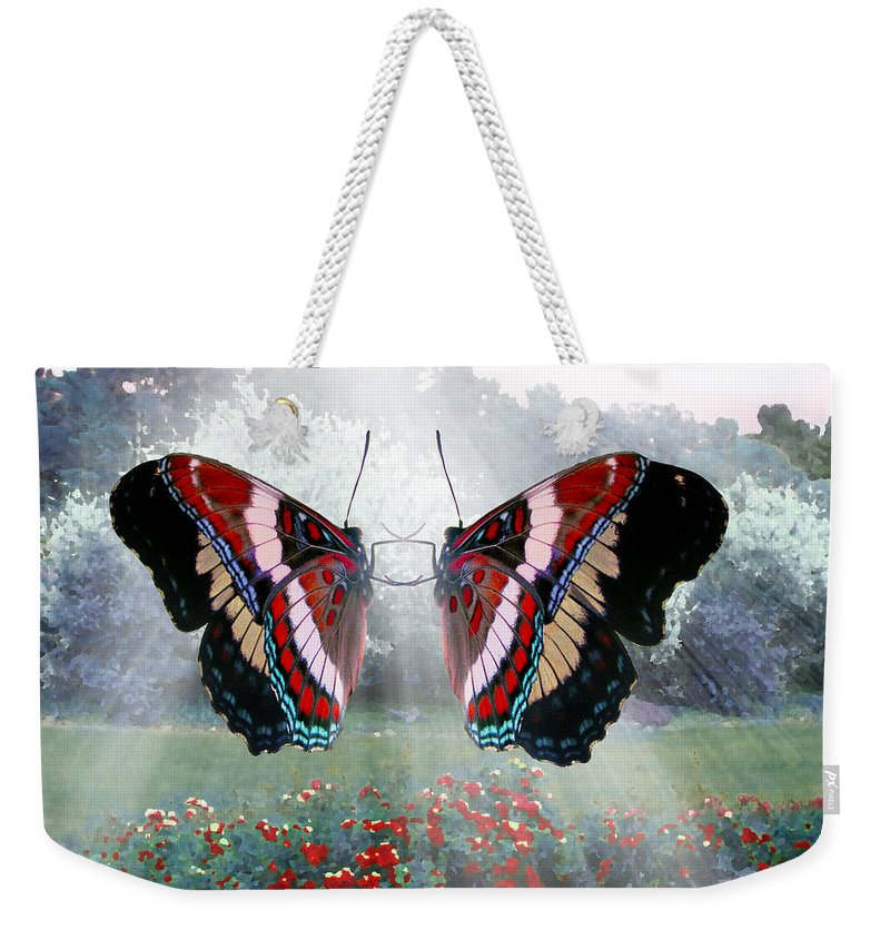 Faunagraphs Art Weekender Tote Bag featuring the digital art White Admiral Waltz by Torie Tiffany