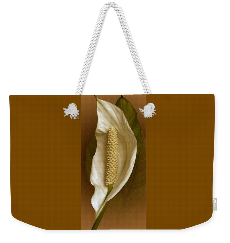 Anthurium Weekender Tote Bag featuring the photograph White Anthurium Flower by Ben and Raisa Gertsberg