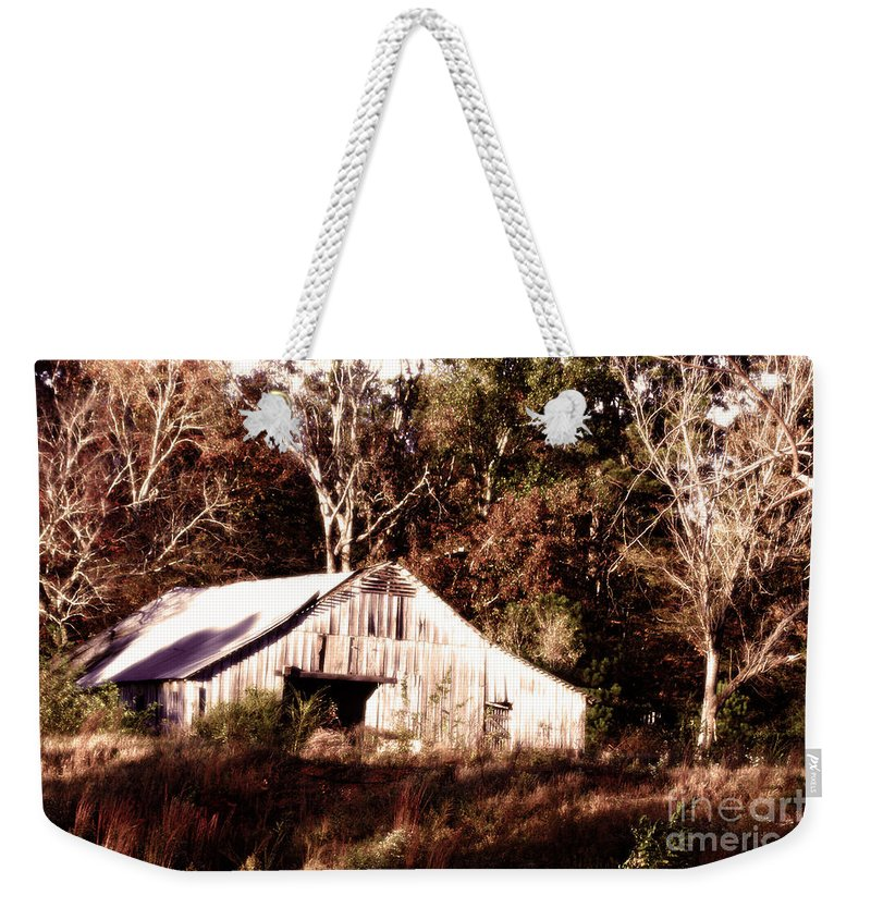 Hdr Photography Weekender Tote Bag featuring the photograph White Barn In Autumn by Lesa Fine