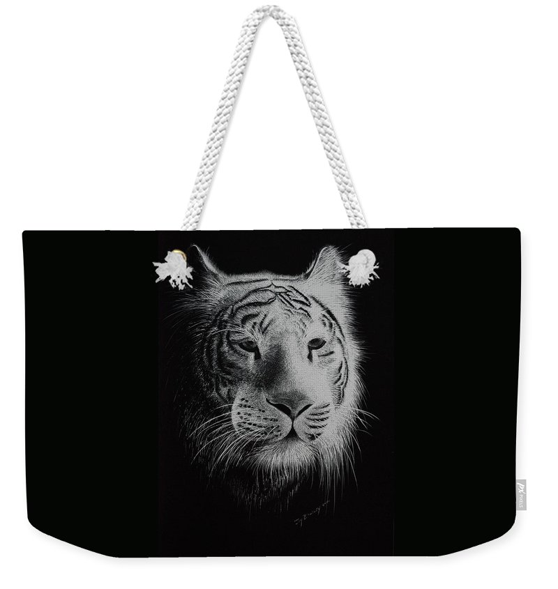 Greeting Cards Weekender Tote Bag featuring the painting White Bengal Tiger by Joy Bradley