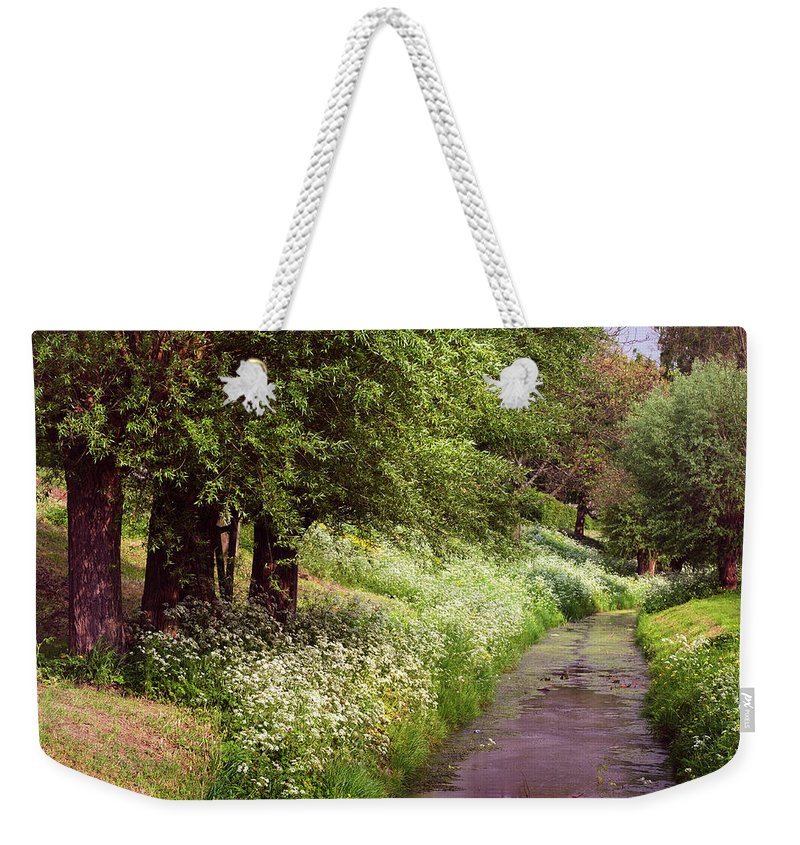 Jenny Rainbow Fine Art Photography Weekender Tote Bag featuring the photograph White Bloom Along The Dutch Canal. Netherlands by Jenny Rainbow