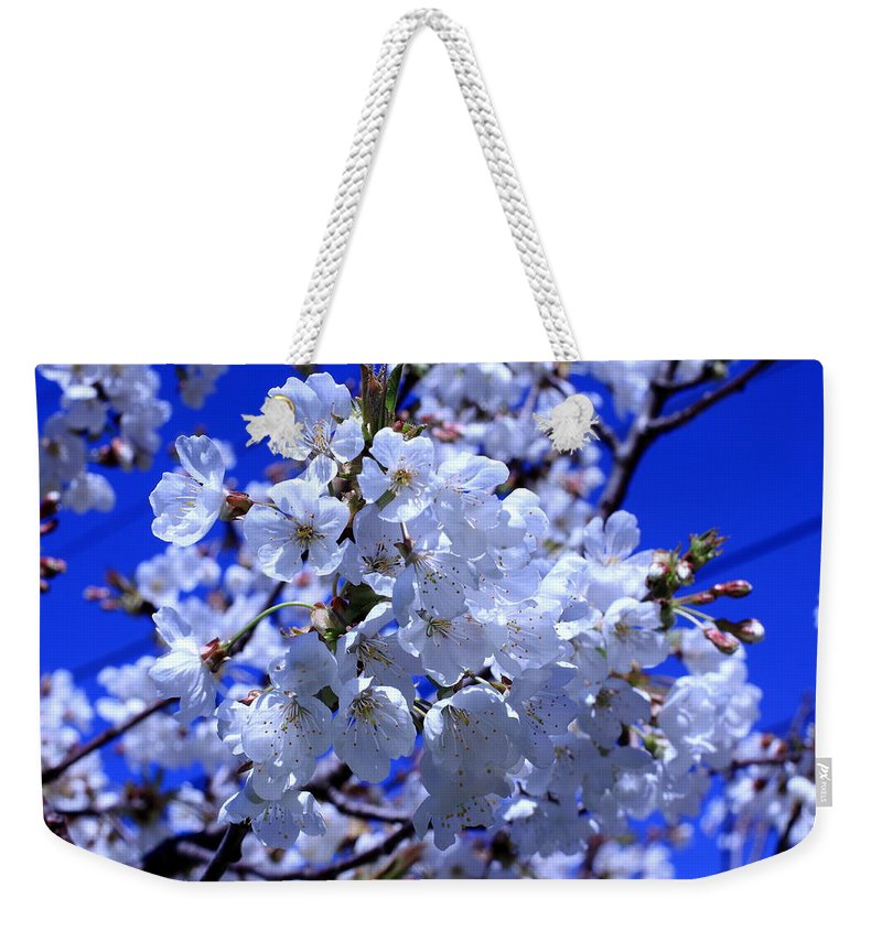 White Blossoms Weekender Tote Bag featuring the photograph White Blossoms by Scott Hill