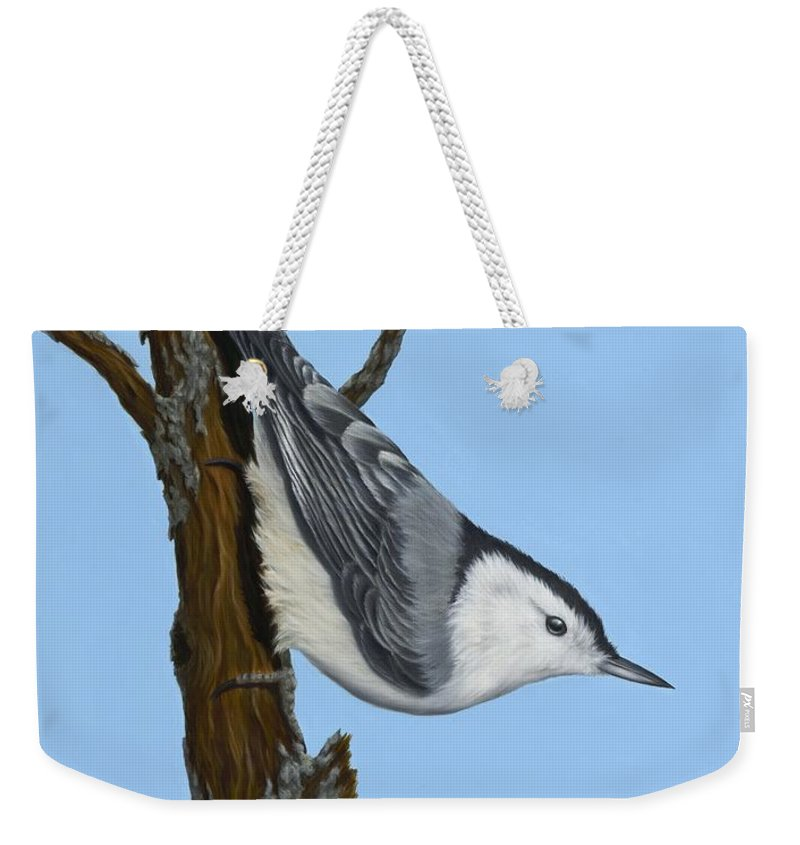 Animals Weekender Tote Bag featuring the painting White Breasted Nuthatch by Rick Bainbridge