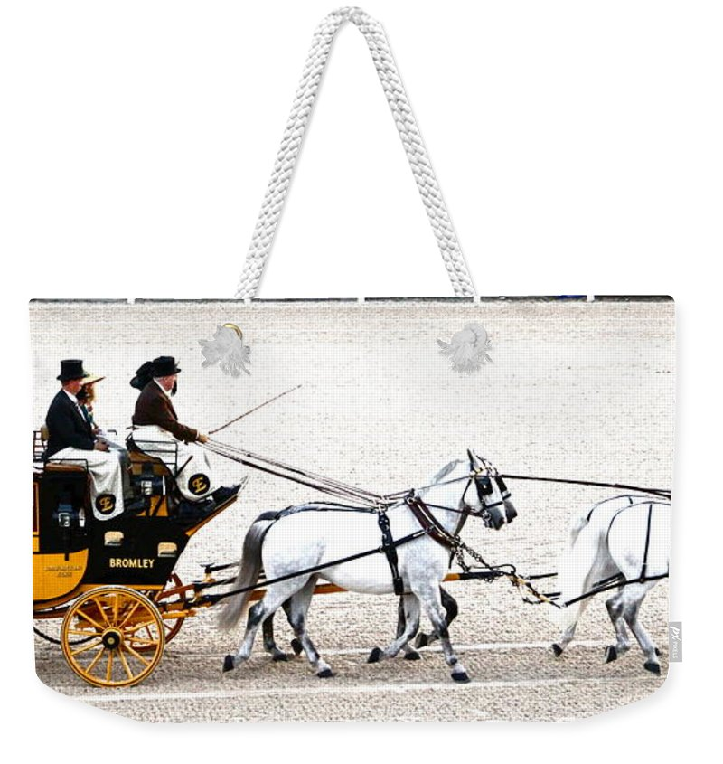 Coach Weekender Tote Bag featuring the photograph White Coach Horses by Alice Gipson