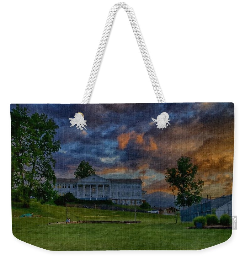 Canvass Weekender Tote Bag featuring the photograph White Columns Under Evening Skies by Dennis Baswell