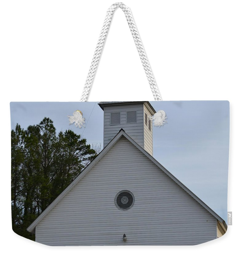 Stained Glass Weekender Tote Bag featuring the photograph White Country Church Series Photo A by Barb Dalton