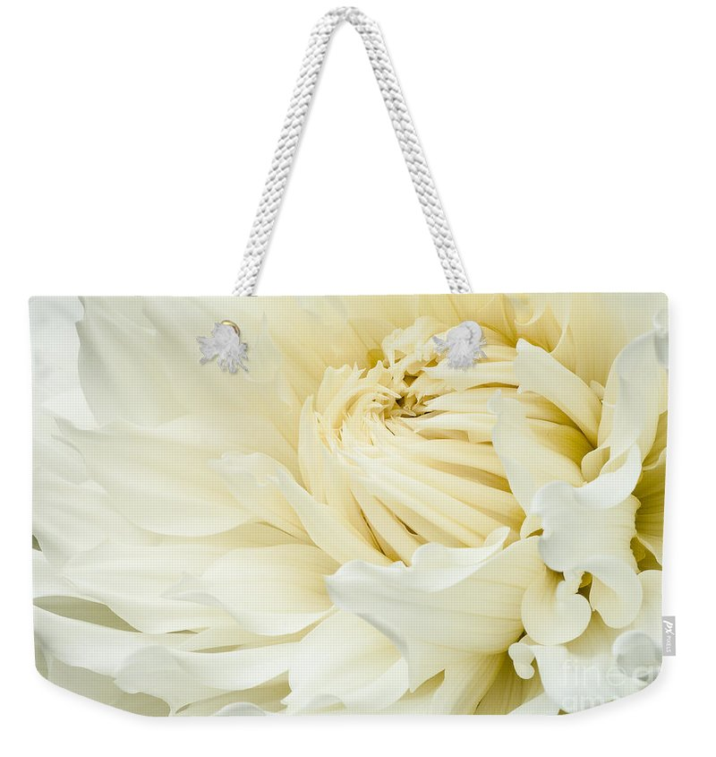Walter Hardisty Weekender Tote Bag featuring the photograph White Dahlia by Joe Mamer