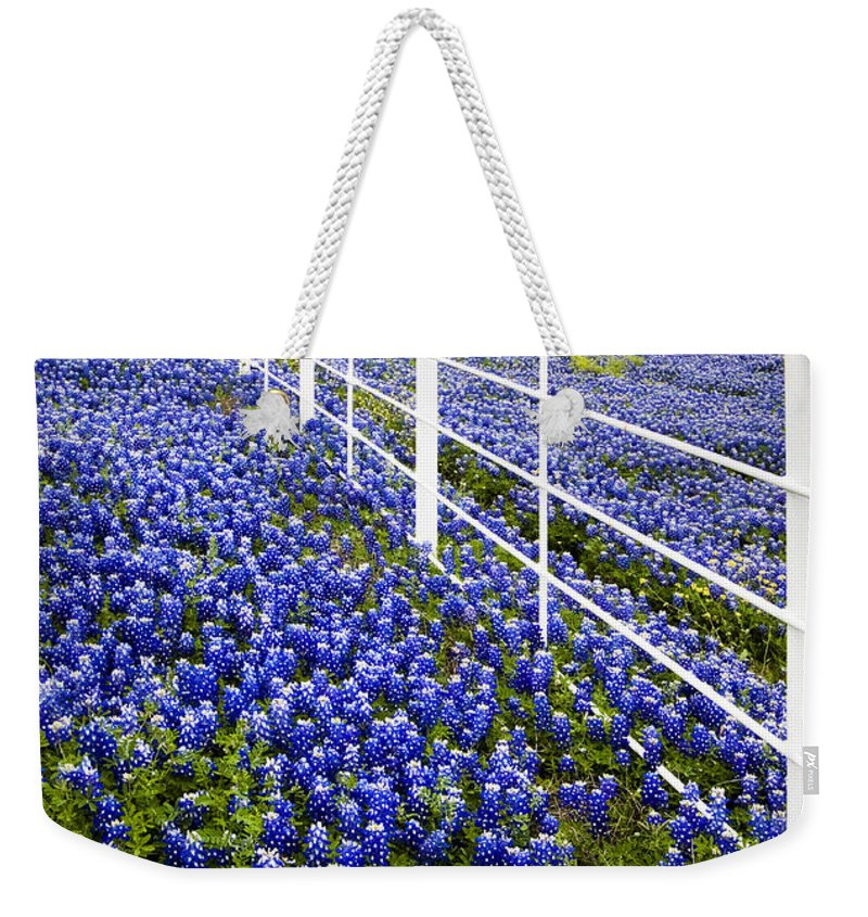 Bloom Weekender Tote Bag featuring the photograph White Fence - Blue Bonnets by David and Carol Kelly
