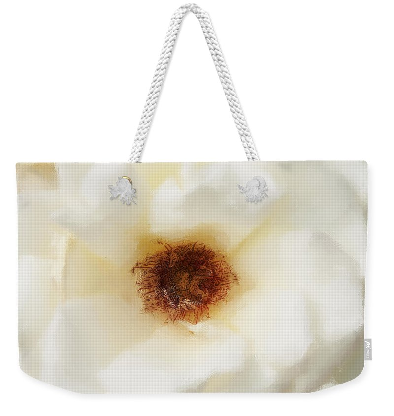 Flower Weekender Tote Bag featuring the photograph White Flower Color Drawing by David Lange