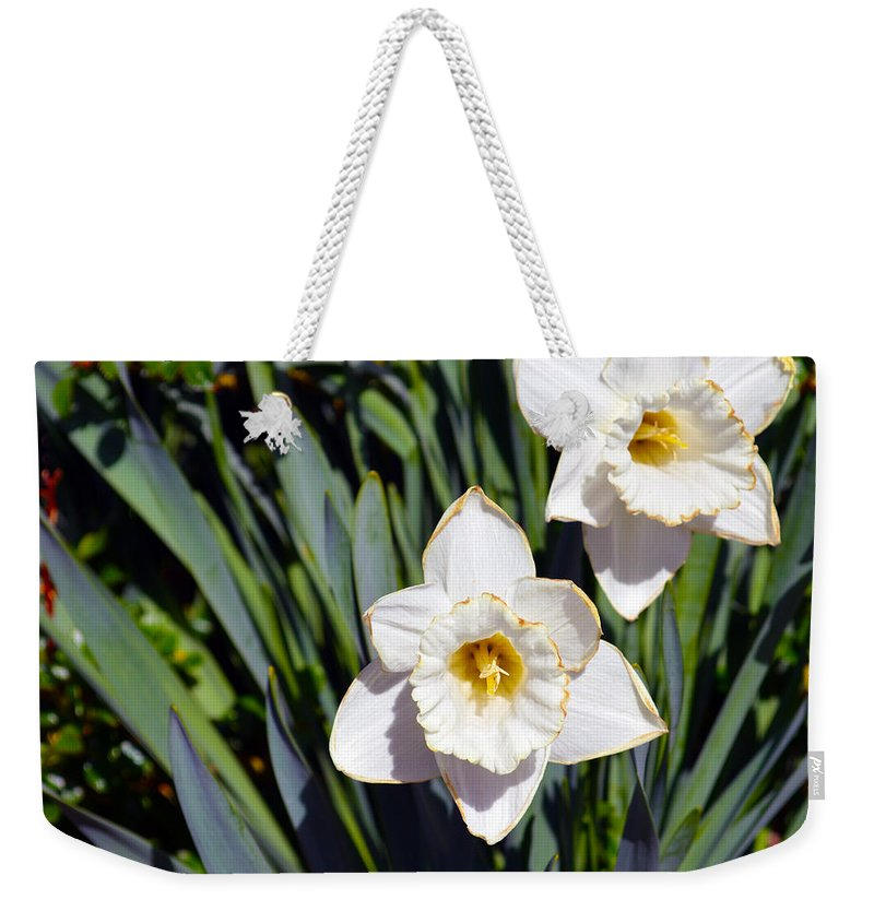 Flower Weekender Tote Bag featuring the photograph White Flowers by Brent Dolliver