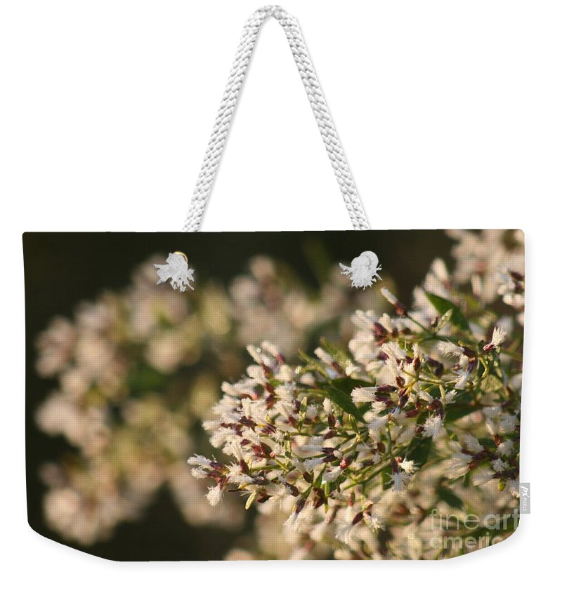 White Weekender Tote Bag featuring the photograph White Flowers by Nadine Rippelmeyer
