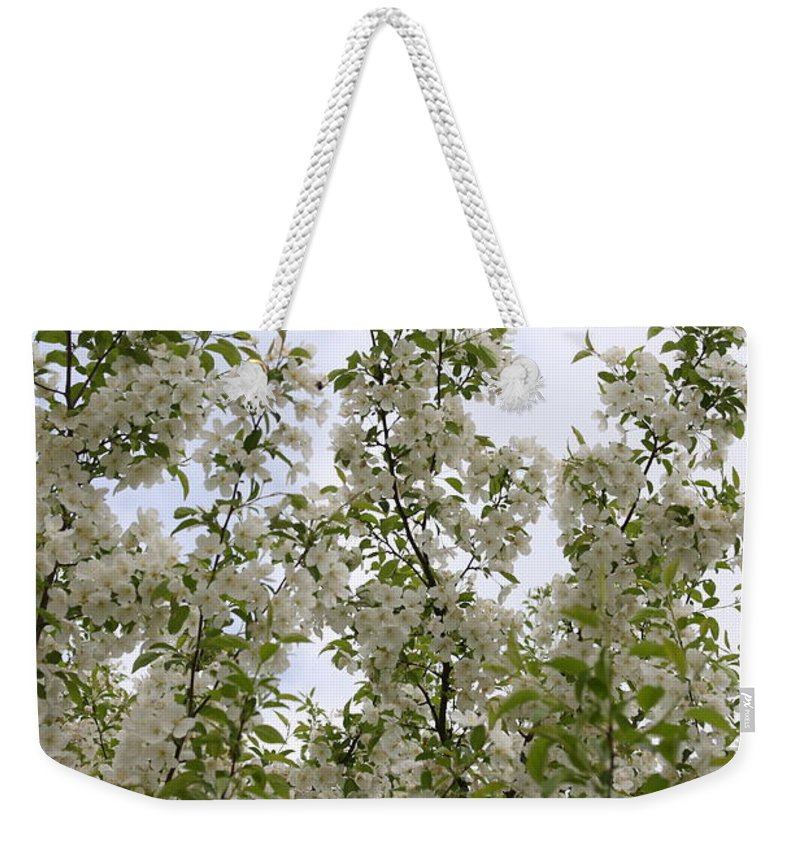 Flower Weekender Tote Bag featuring the photograph White Flowers On Branches by Michelle Miron-Rebbe