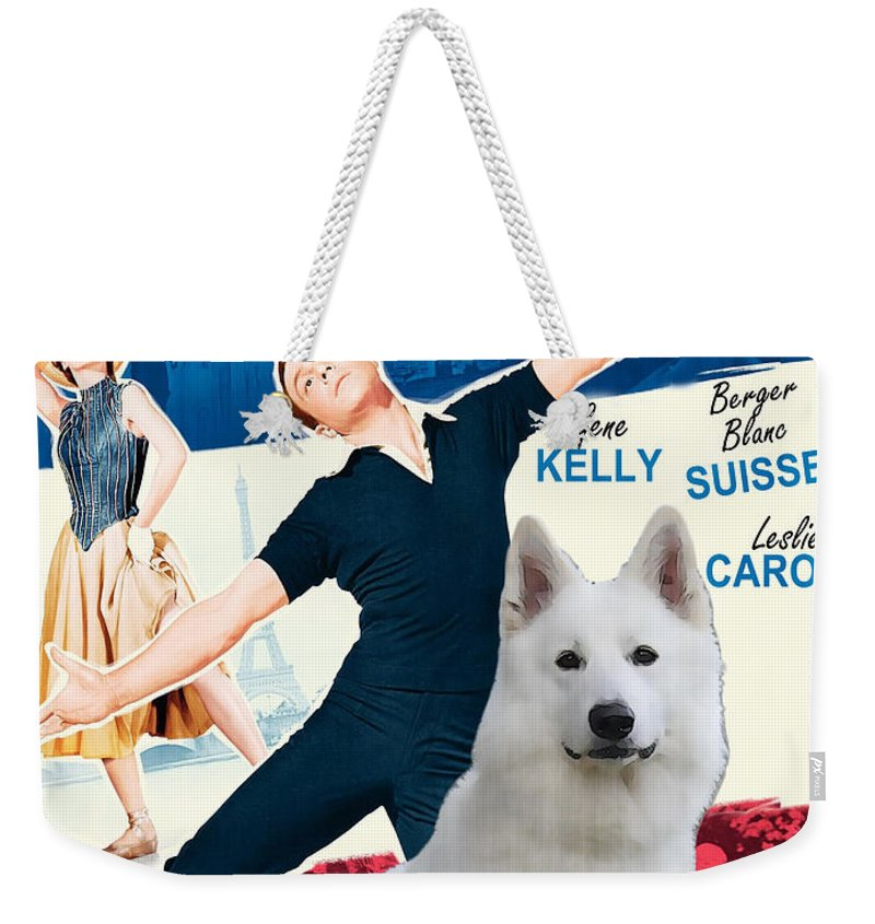 White German Shepherd Weekender Tote Bag featuring the painting White German Shepherd Art Canvas Print - An American In Paris Movie Poster by Sandra Sij