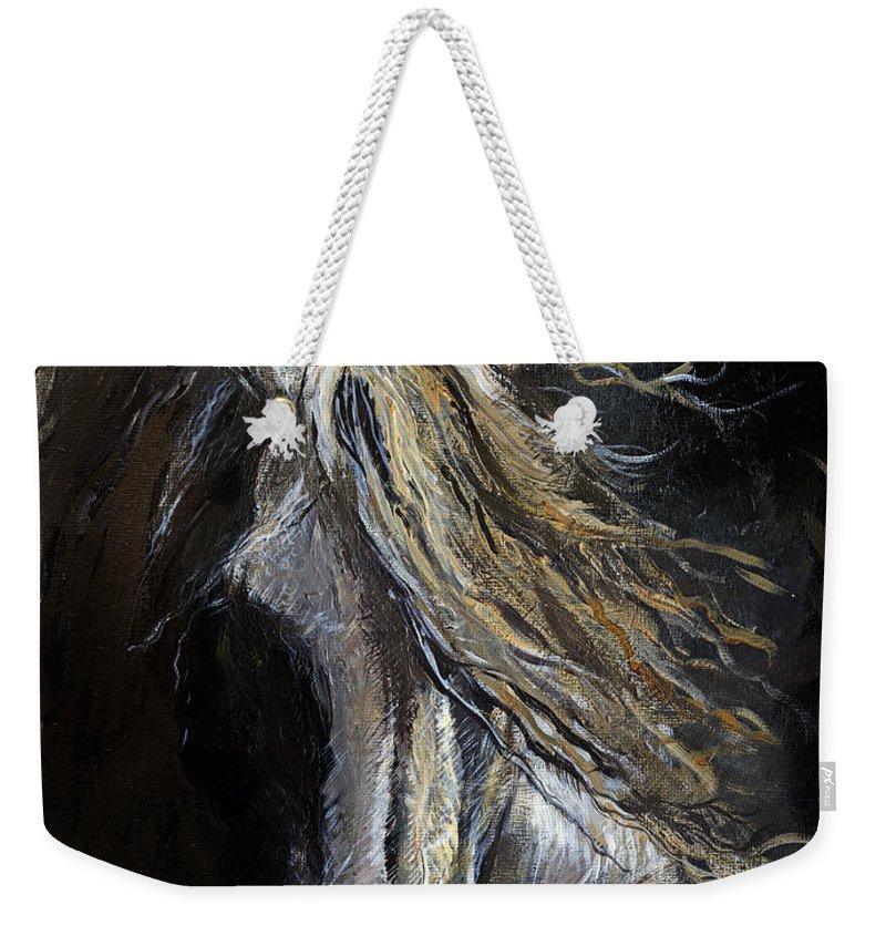 Horse Weekender Tote Bag featuring the painting White Ghost by Angel Ciesniarska