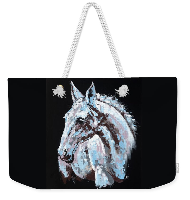 Abstract Horse Weekender Tote Bag featuring the painting White Horse by Konni Jensen