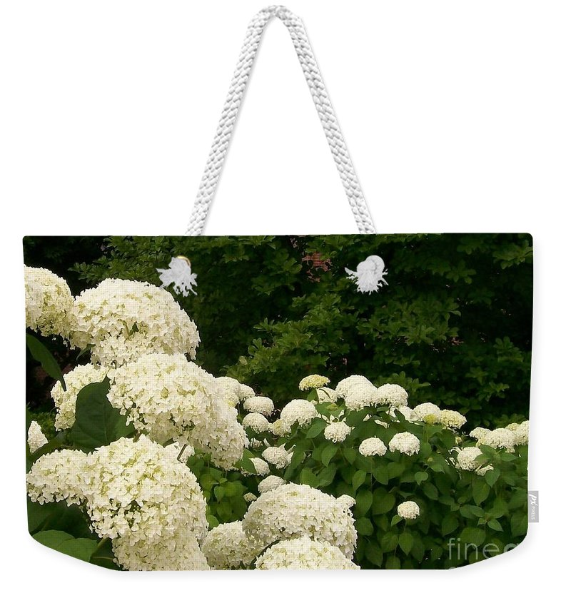 Hydrangea Weekender Tote Bag featuring the photograph White Hydrangeas by Laurie Eve Loftin