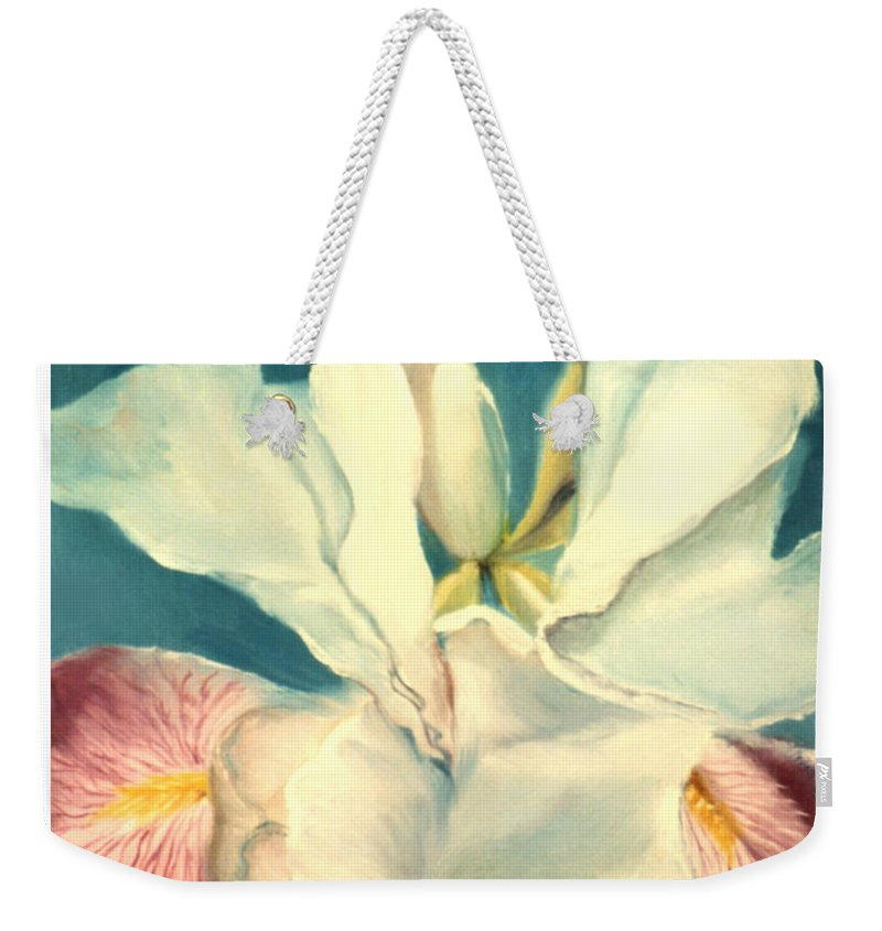 Flowers Weekender Tote Bag featuring the painting White Iris by Anni Adkins