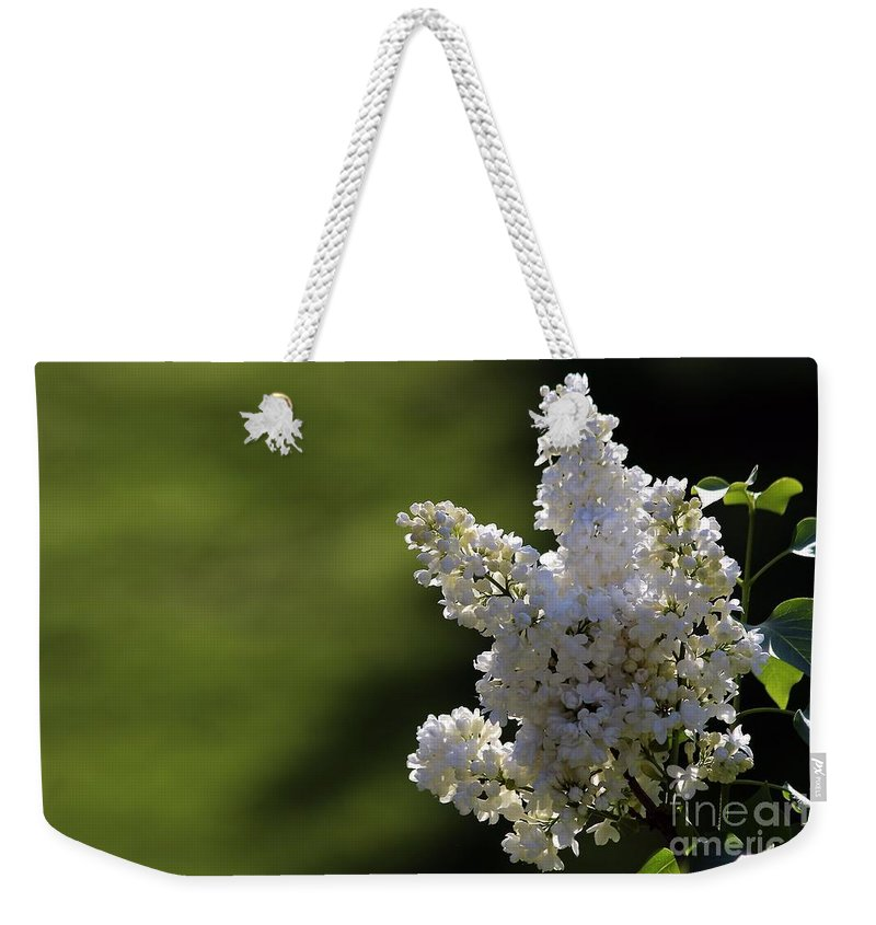 Lilac Weekender Tote Bag featuring the photograph White Lilac by Kenny Glotfelty