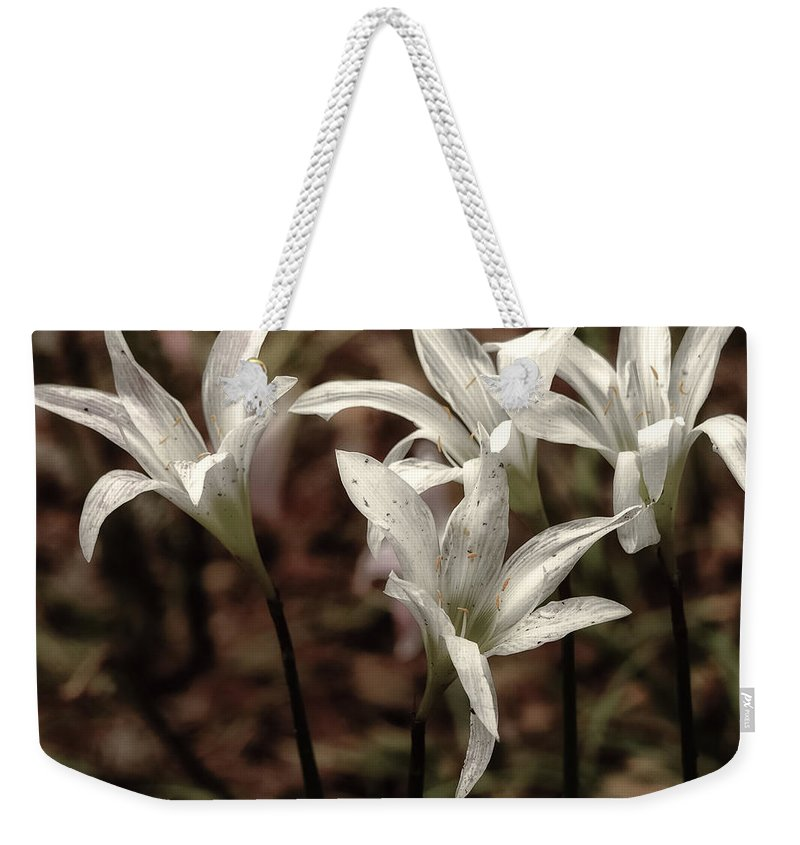 White Weekender Tote Bag featuring the photograph White Lilies by Scott Hervieux