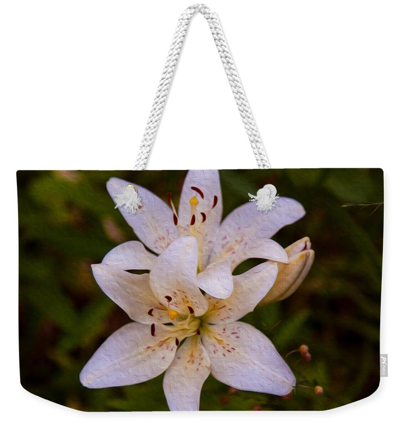 North Cascades Weekender Tote Bag featuring the painting White Lily Starburst by Omaste Witkowski