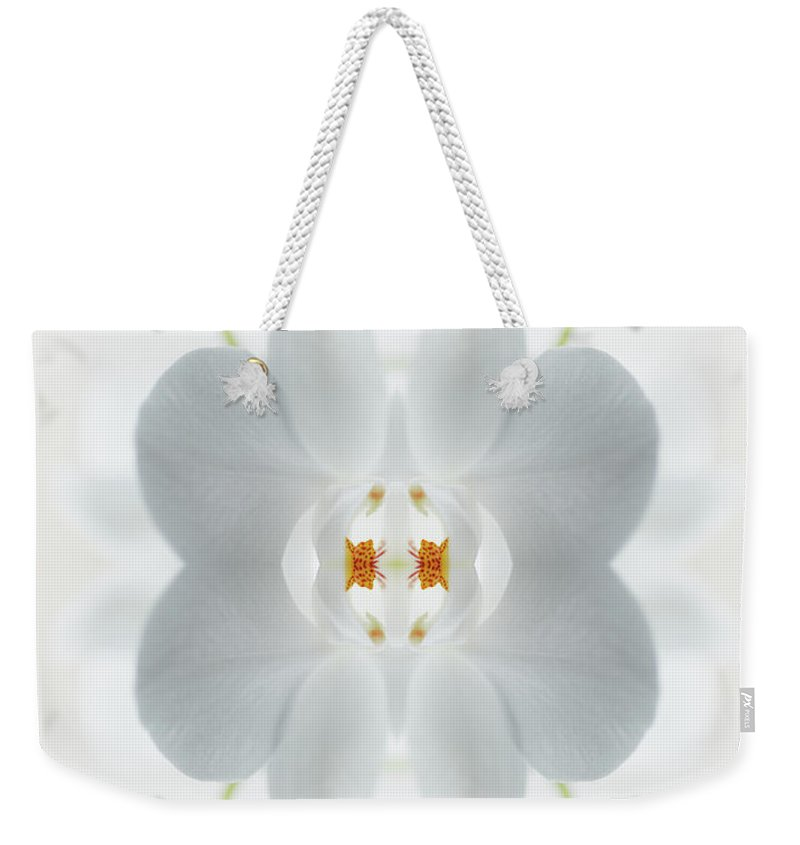 Tranquility Weekender Tote Bag featuring the photograph White Orchid Flower by Silvia Otte