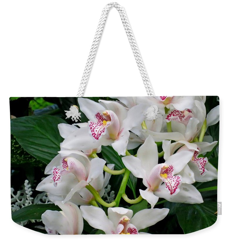 Orchid Weekender Tote Bag featuring the photograph White Orchid In Full Bloom by Lena Photo Art