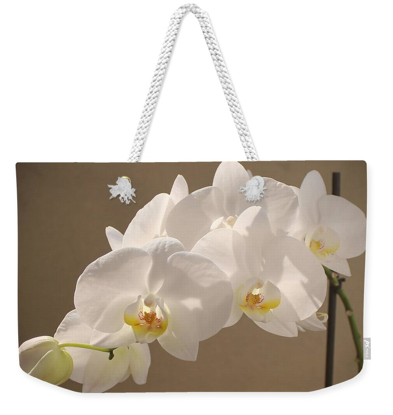 Orchid Weekender Tote Bag featuring the painting White Orchid Photograph by Georgeta Blanaru