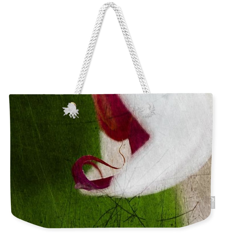 Orchid Weekender Tote Bag featuring the mixed media White Orchid Scratched by Marie Jamieson