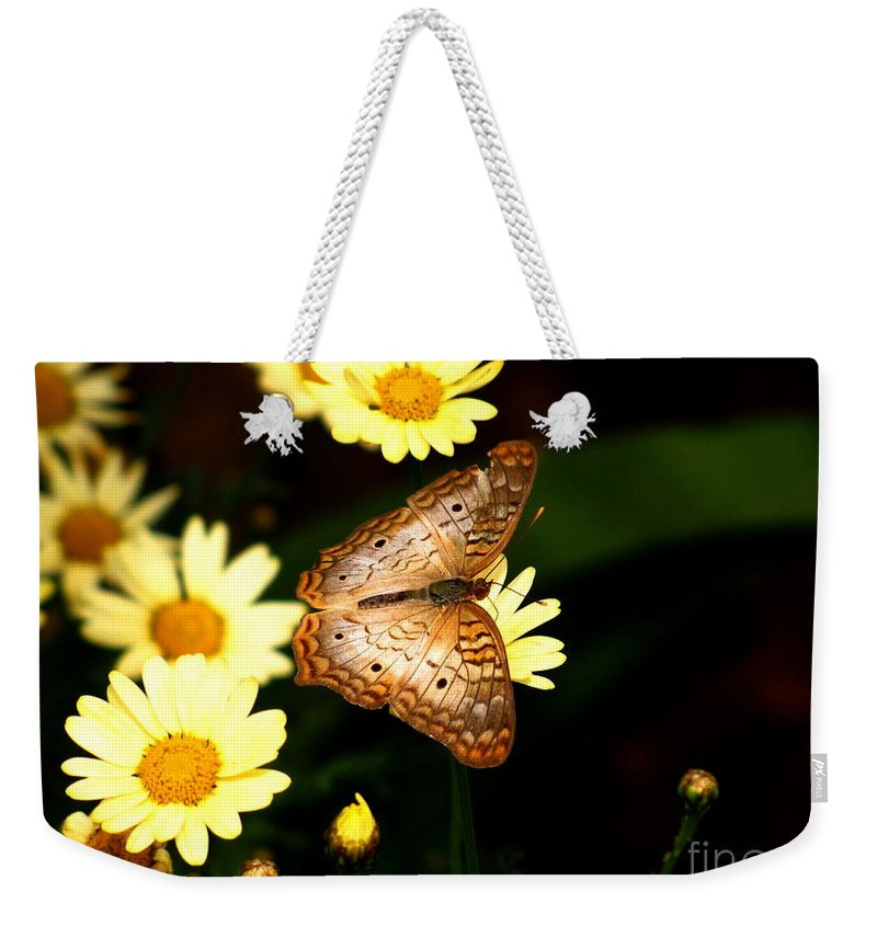 White Peacock Butterfly Weekender Tote Bag featuring the photograph White Peacock Butterfly by Marilyn Smith