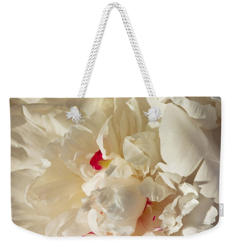 Flower Weekender Tote Bag featuring the photograph White Peony Flower by Keith Webber Jr