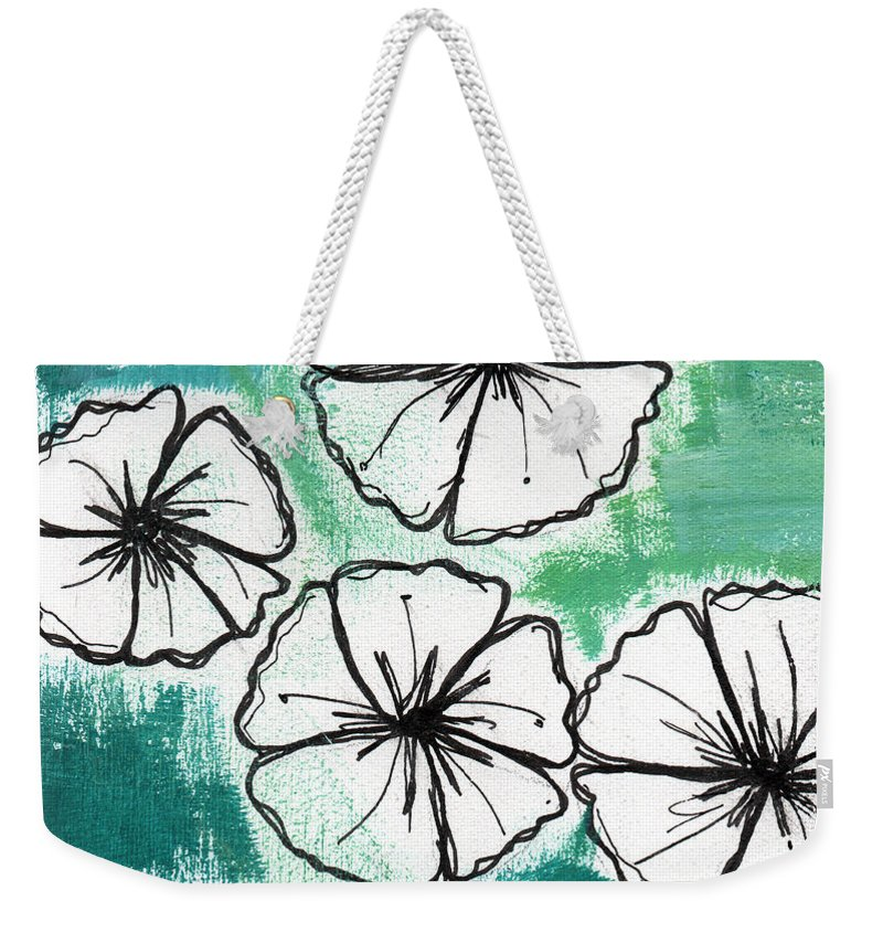 Flowers Weekender Tote Bag featuring the painting White Petunias- Floral Abstract Painting by Linda Woods
