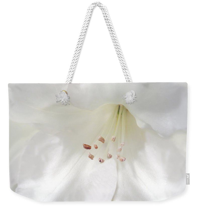 Rhododendron Weekender Tote Bag featuring the photograph White Rhododendron Flowers by Jennie Marie Schell
