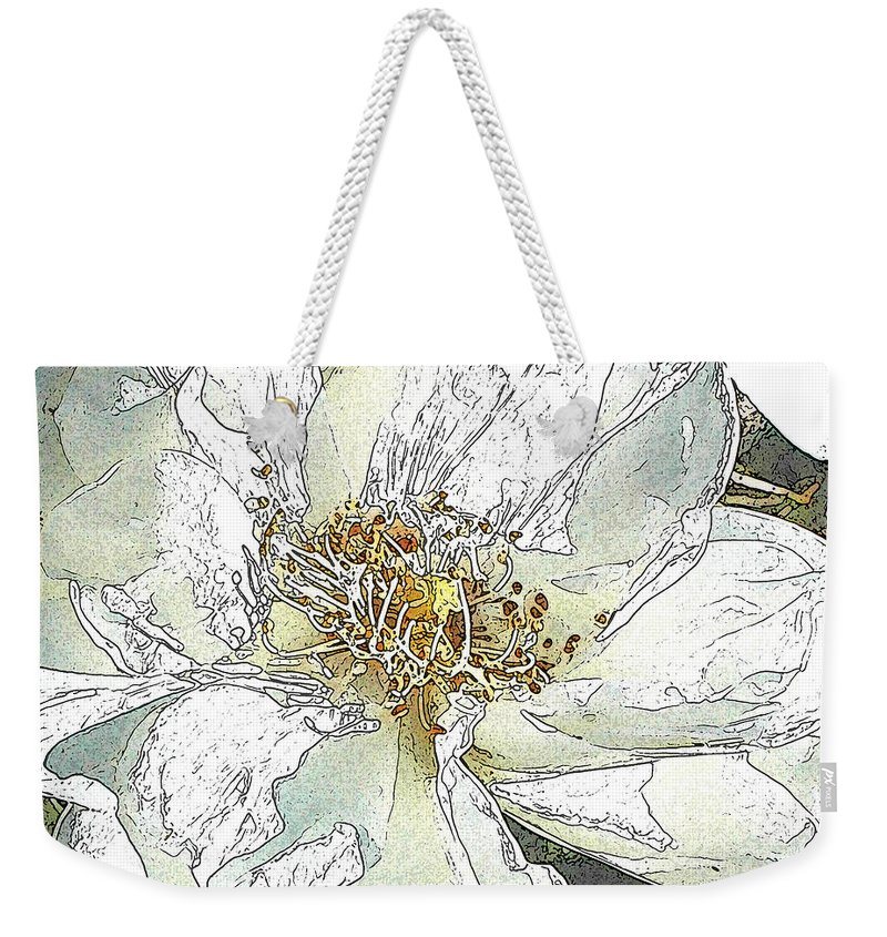 Rose Weekender Tote Bag featuring the photograph White Rose Abstract by Jeanne A Martin