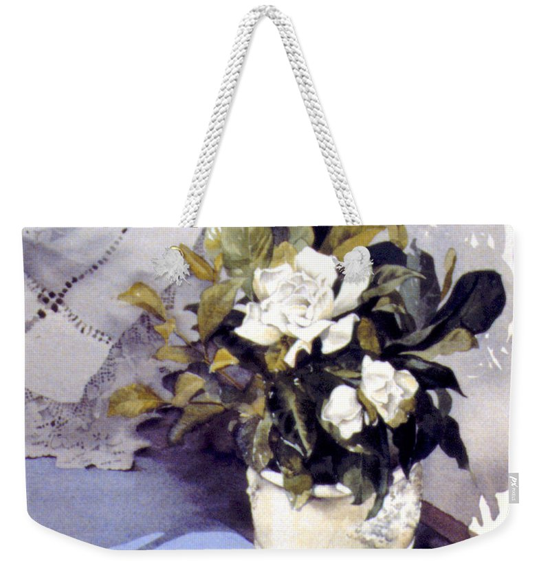 Julia Rowntree Weekender Tote Bag featuring the photograph White Roses by Julia Rowntree