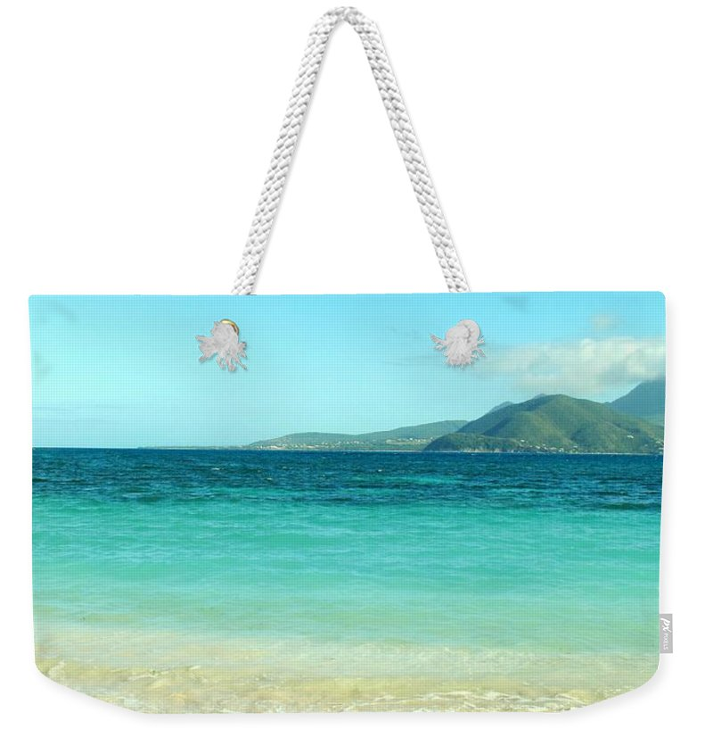 St Kitts Weekender Tote Bag featuring the photograph White Sand Blue Sky Blue Water by Ian MacDonald