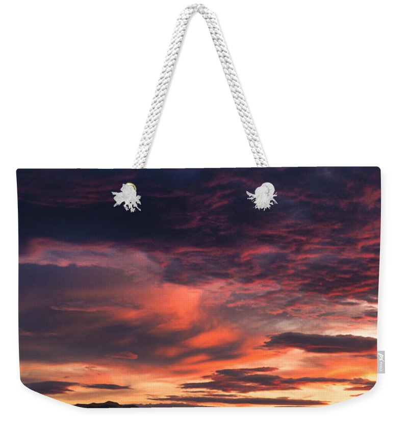 White Sands Weekender Tote Bag featuring the photograph White Sands Sunset by Sandra Bronstein