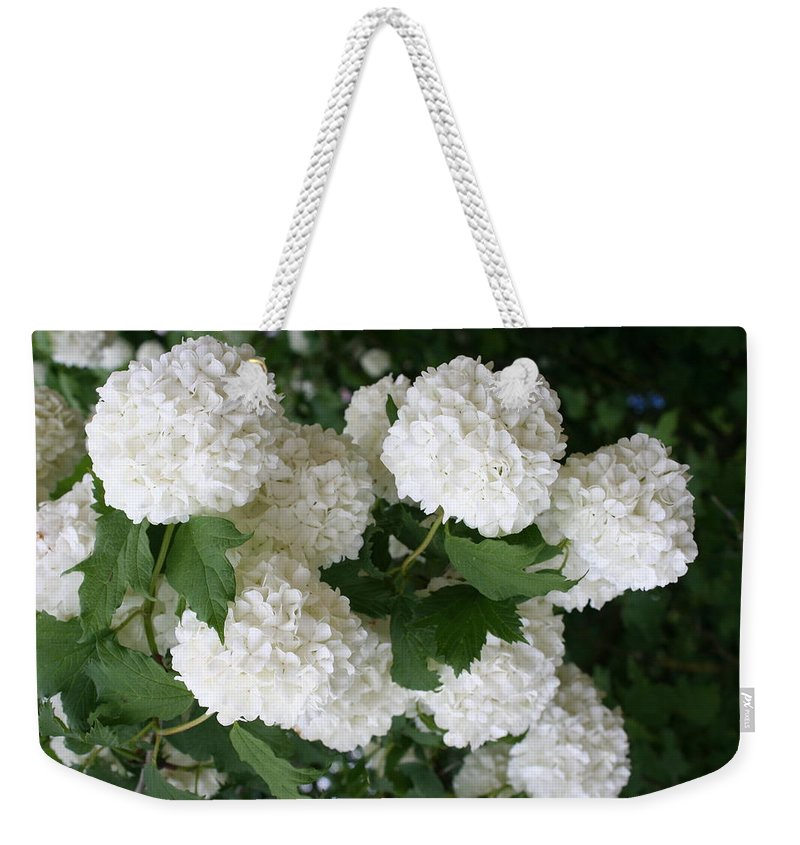 White Snowball Weekender Tote Bag featuring the photograph White Snowball Bush by Christiane Schulze Art And Photography