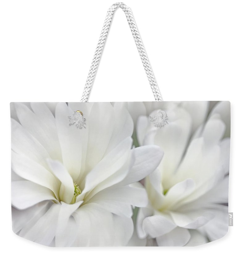 Magnolia Weekender Tote Bag featuring the photograph White Star Magnolia Flowers by Jennie Marie Schell