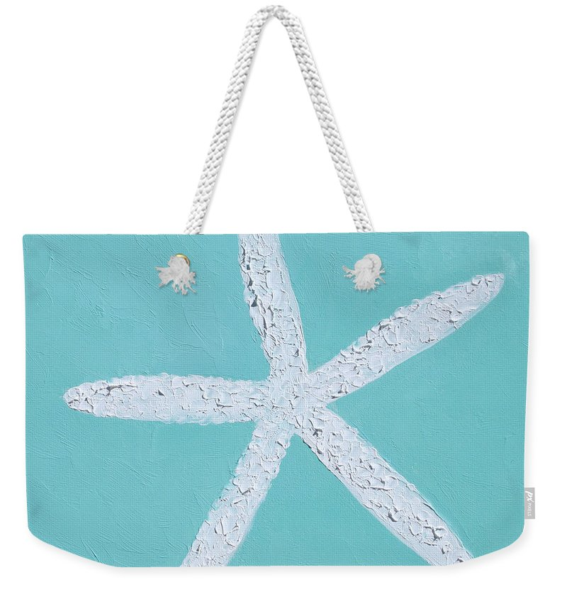 Starfish Weekender Tote Bag featuring the painting White Starfish by Jan Matson