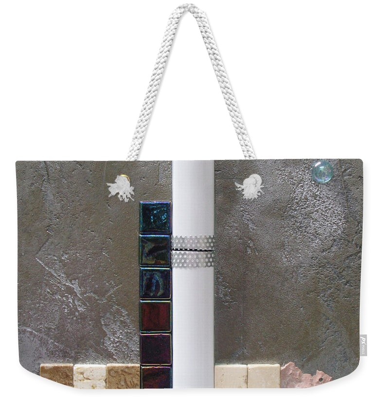 Assemblage Weekender Tote Bag featuring the relief White Tower by Elaine Booth-Kallweit